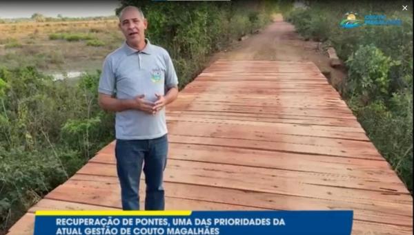 Prefeitura de Couto Magalhães e Secretaria de infraestrutura reformam ponte do Ribeirão Catingueiro que dá acesso ao PA Campo da Missa